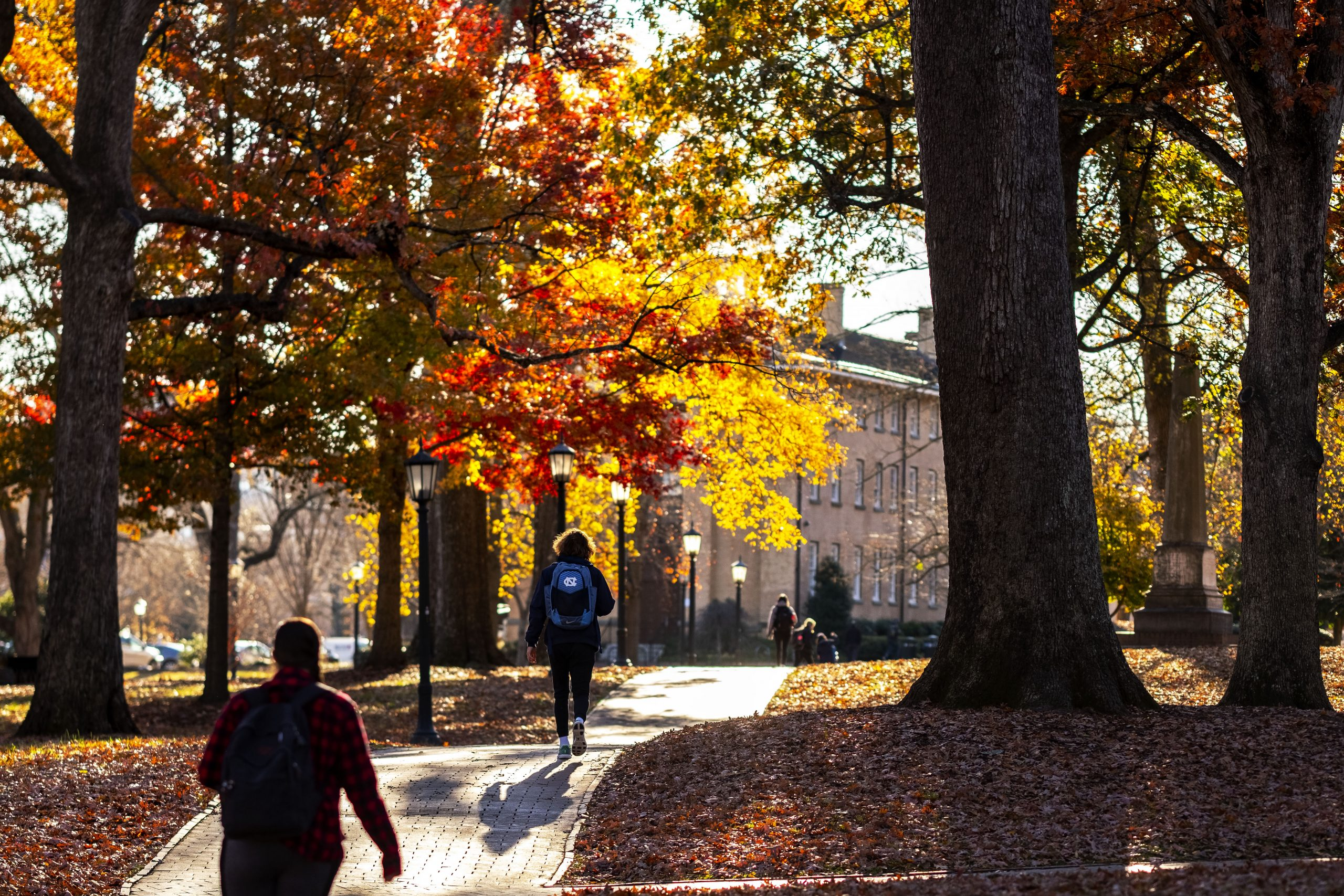Students under fall leaves walking toward campus building.