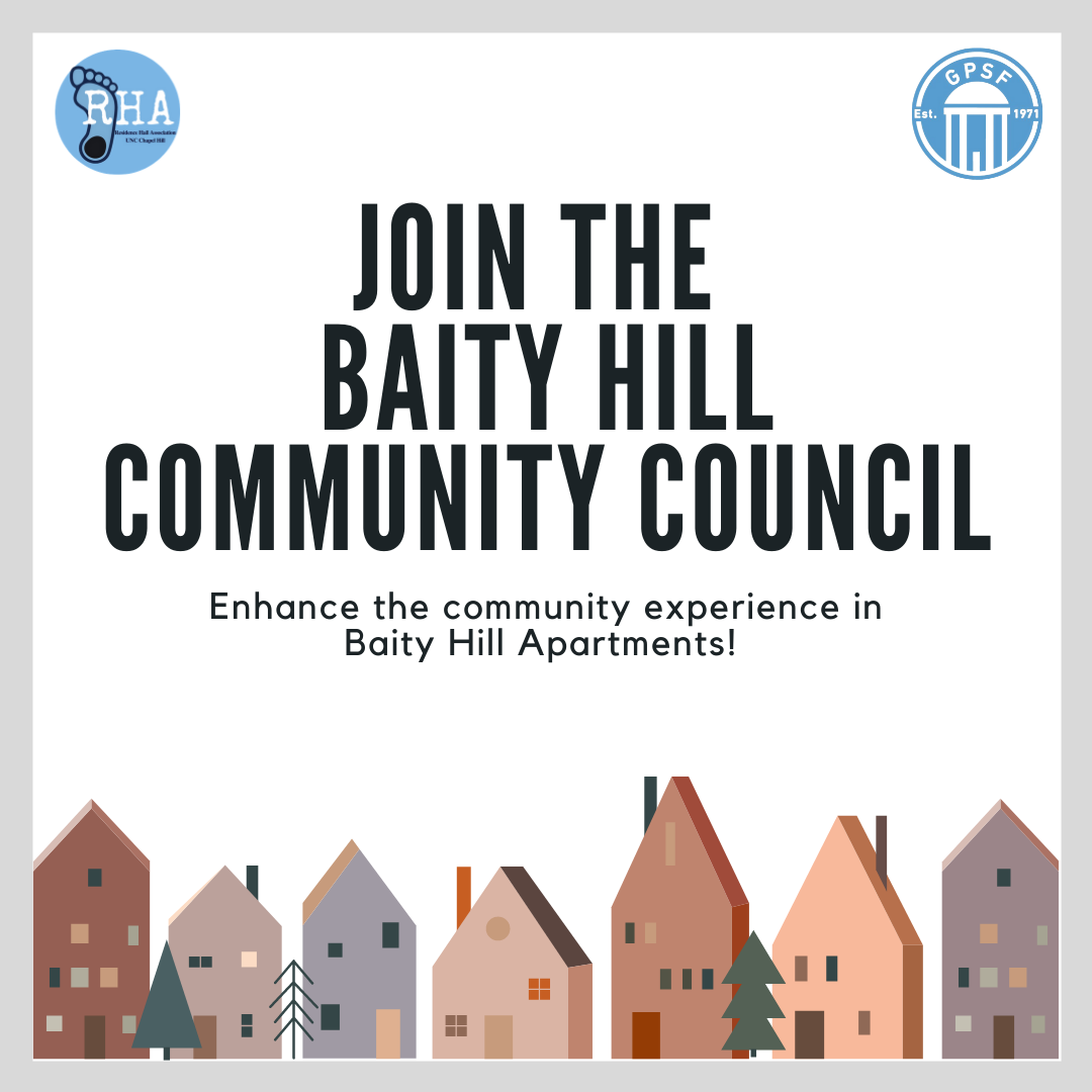 Cartoon houses at the bottom of the image. Text: Joint he Baity Hill Community Council