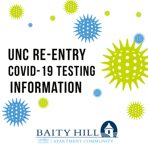Blue and Green covid animated viruses throughout the background. Text: UNC Re-Entry COVID-19 Testing Information.