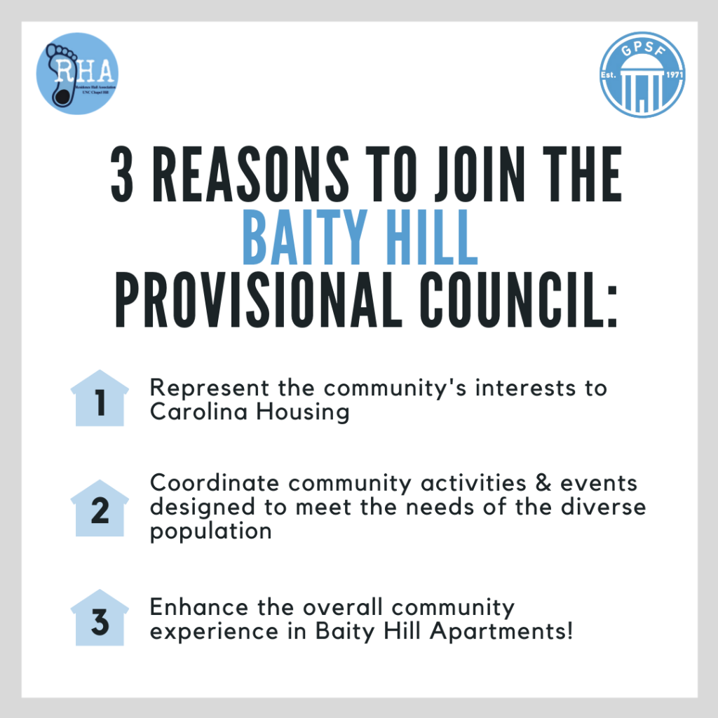 3 Reasons to Join the Baity Hill Provisional Council: Represent the community's interests to Carolina Housing Coordinate community activities & events designed to meet the needs of the diverse population Enhance the overall community experience in Baity Hill Apartments!
