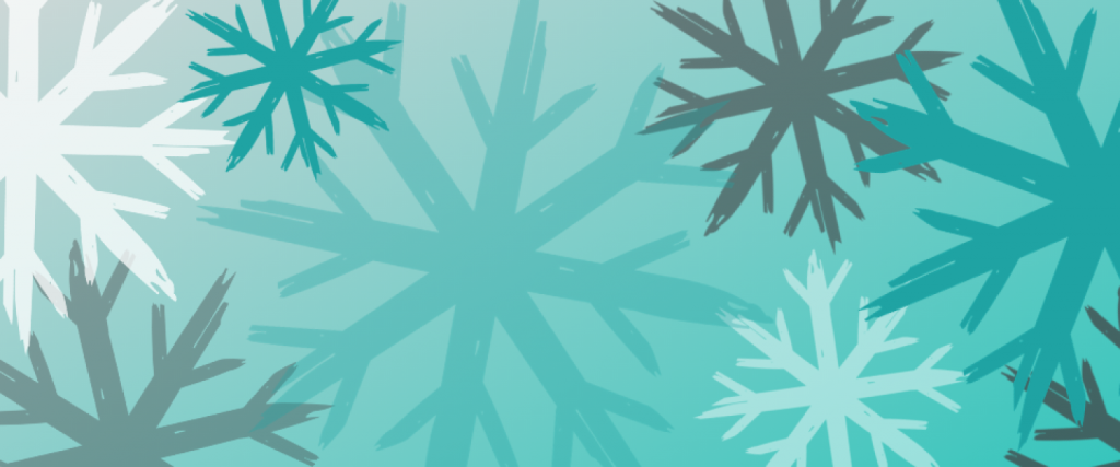 Varying sizes of snowflakes in a teal, white and grey color on a lighter teal background.